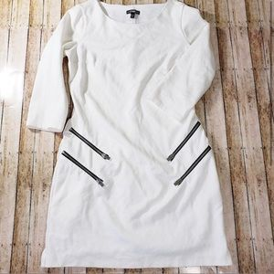 Express White Zipper Dress